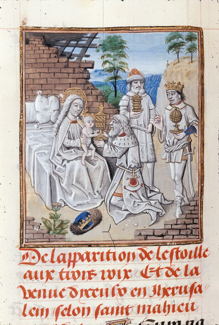 Adoration of the Magi from BL Royal 15 D I, f. 229v