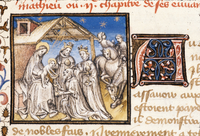Adoration of the Magi from BL Royal 20 B IV, f. 24