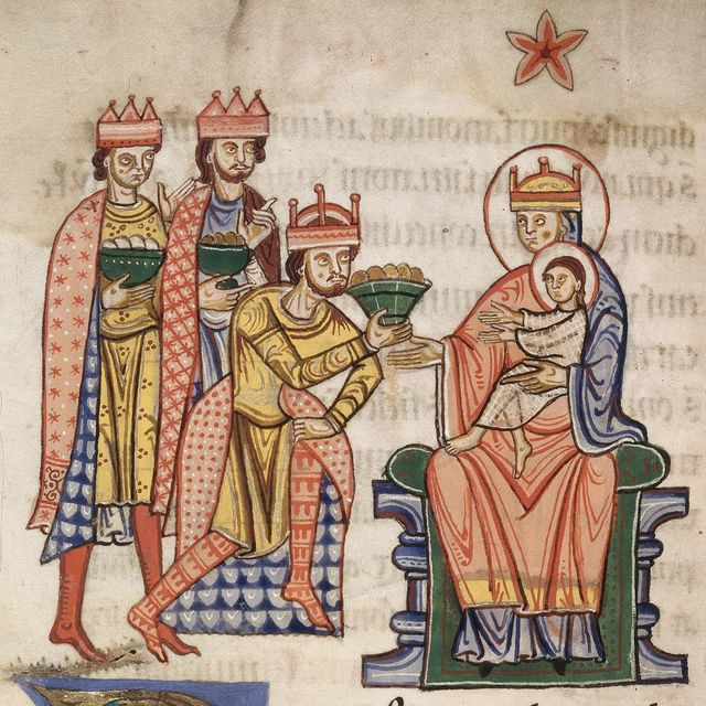 Adoration of the Magi from BL YT 2, f. 62v