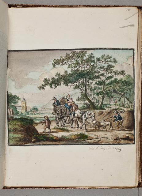 Afbeelding: gezin met een kar en paard in een polderachtig landschap / door Evert le Francq van Berkhey (ca. 1764-)