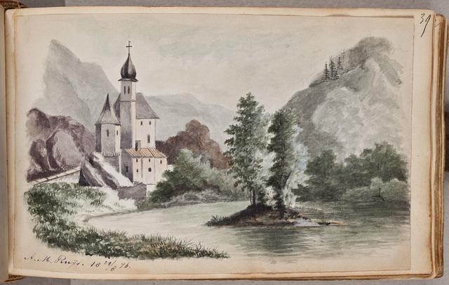 Afbeelding: kasteel in rivierlandschap / door A.M. Ruijs