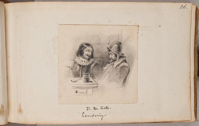 """Afbeelding: """"Landerig"""", gesprek tussen twee mannen in een kroeg / door H. ten Kate"""