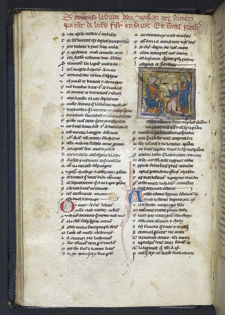 Aimeri kneeling before Charlemagne from BL Harley 1321, f. 38v