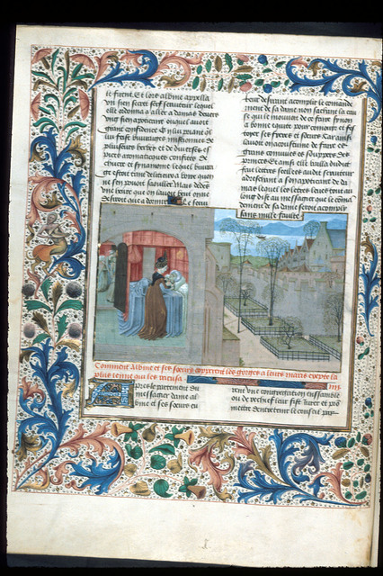 Albina cutting her husband's throat from BL Royal 15 E IV, f. 20v
