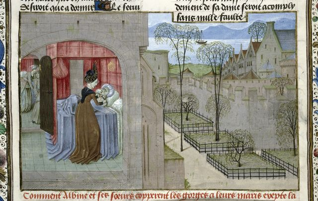 Albina cutting her husband's throat from BL Royal 15 E IV, f. 20v