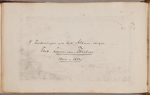 Albumbijdrage / van P.V. van Toulon, voor Petronella Jacoba Louisa van Toulon (1800-1877)