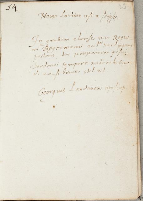Albuminscriptie van / Georgius Carleton (1559-1628), theoloog, voor Regnerus Bogerman (1582-1636)
