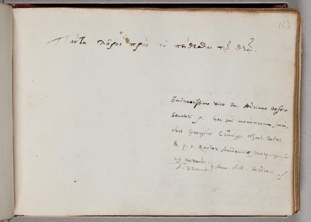 Albuminscriptie van / Georgius Cruciger (1575-1637), theoloog, hoogleraar te Marburg, voor Adrianus Hofferus (1589-1644)