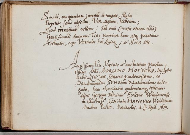 Albuminscriptie van / Georgius Fabricius, predikant, voor Adrianus Hofferus (1589-1644)