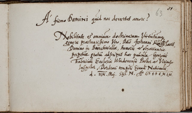 Albuminscriptie van / Georgius Fabricius, predikant, voor Johannes Rufelaert (-1621)