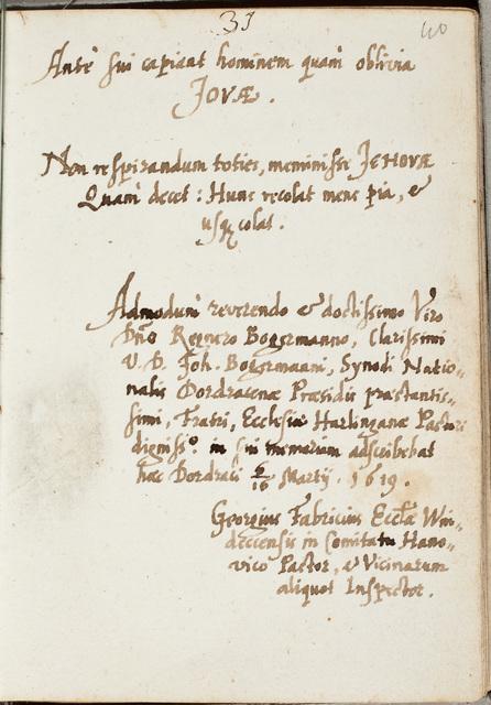 Albuminscriptie van / Georgius Fabricius, predikant, voor Regnerus Bogerman (1582-1636)
