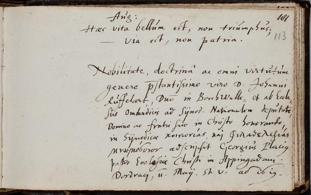 Albuminscriptie van / Georgius Placius (1584-1641), predikant, voor Johannes Rufelaert (-1621)