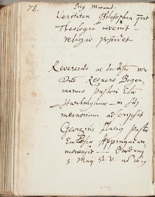 Albuminscriptie van / Georgius Placius (1584-1641), predikant, voor Regnerus Bogerman (1582-1636)