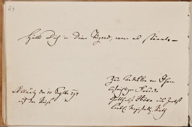 Albuminscriptie / van Gotthelf Hora, uit Zerbst, voor Samuel Schön
