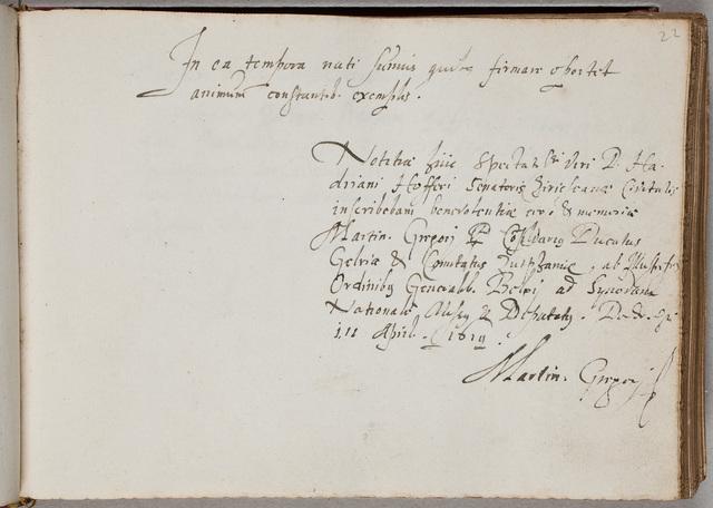 Albuminscriptie van / Martinus Gregorii (-1632), jurist, voor Adrianus Hofferus (1589-1644)