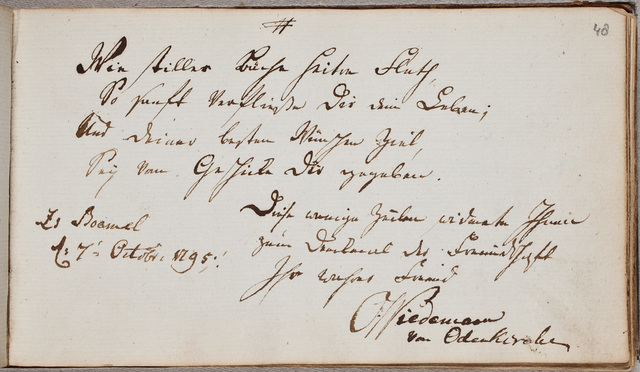 Albuminscriptie / van O. Wiedemann, uit Odenkirchen, voor Christine Henriette Crena