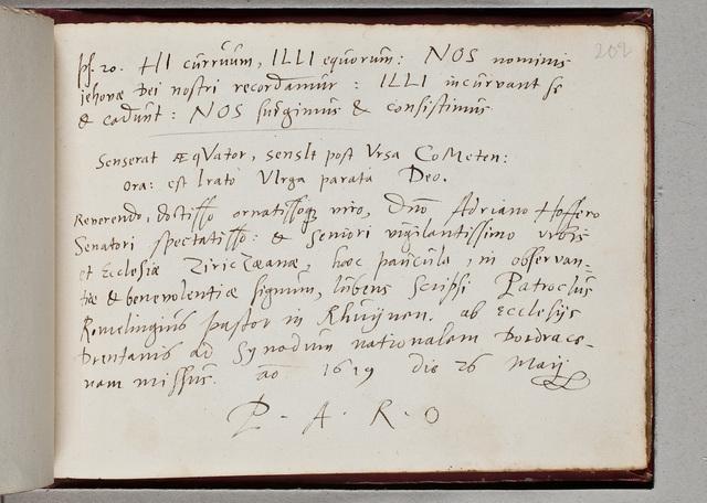 Albuminscriptie van / Patroclus Romelingius (-1647), predikant, voor Adrianus Hofferus (1589-1644)