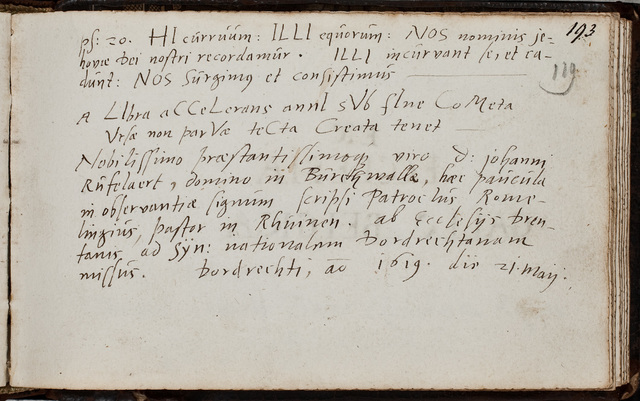 Albuminscriptie van / Patroclus Romelingius (-1647), predikant, voor Johannes Rufelaert (-1621)