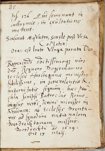 Albuminscriptie van / Patroclus Romelingius (-1647), predikant, voor Regnerus Bogerman (1582-1636)