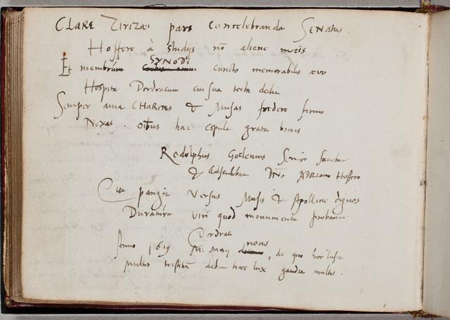 Albuminscriptie van / Rodolphus Goclenius Sr. (1547-1628), filosoof, hoogleraar te Marburg, voor Adrianus Hofferus (1589-1644)