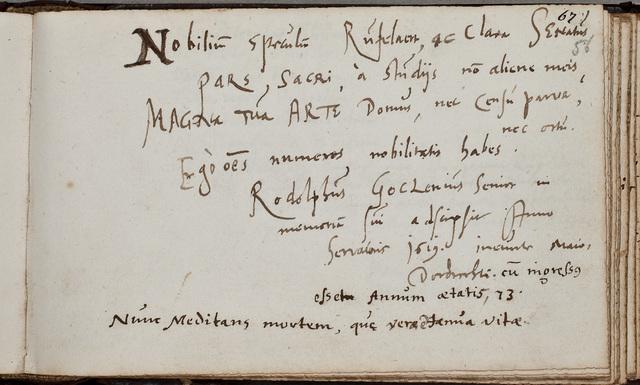 Albuminscriptie van / Rodolphus Goclenius Sr. (1547-1628), theoloog, voor Johannes Rufelaert (-1621)