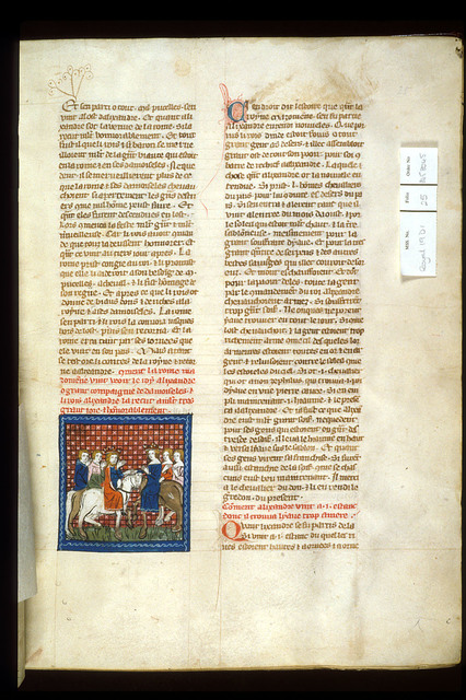 Alexander and the Queen of the Amazons from BL Royal 19 D I, f. 25