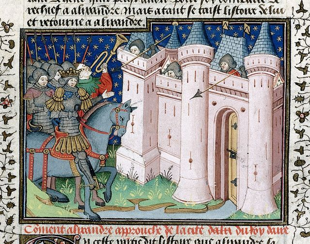 Alexander attacking a city from BL Royal 15 E VI, f. 13
