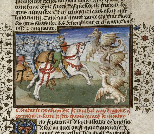 Alexander fighting with dragons from BL Royal 15 E VI, f. 21