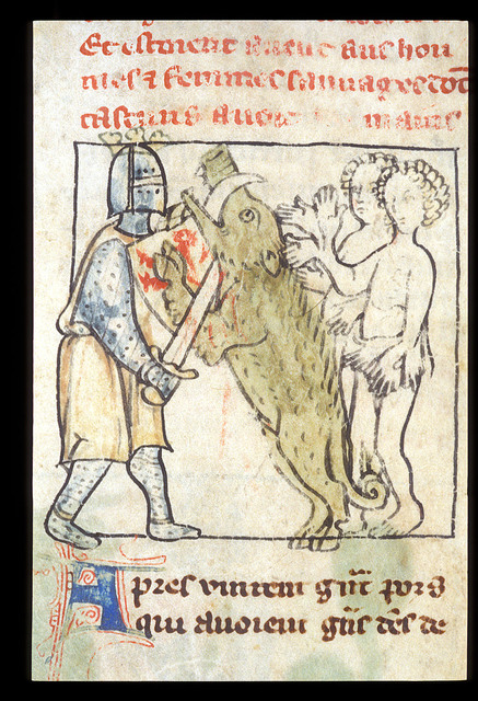 Alexander killing a wild boar from BL Royal 20 A V, f. 49