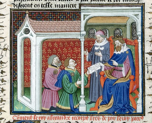 Alexander receiving a letter from Porrus from BL Royal 15 E VI, f. 14