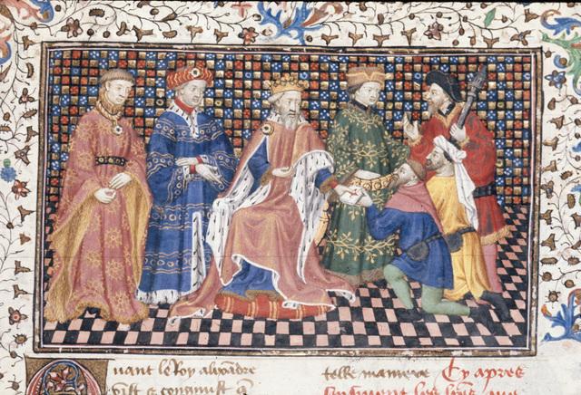 Alexander sending letters from BL Royal 20 B XX, f. 85