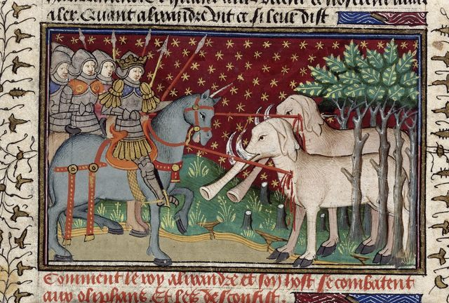 Alexander's knights killing elephants with spears from BL Royal 15 E VI, f. 16v