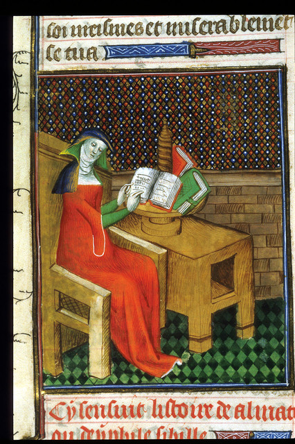 Almathea reading from BL Royal 20 C V, f. 38v