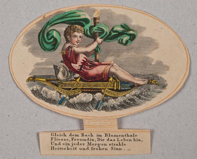 Amor zittend op zijn pijlenkoker en boog vaart over een snelstromende beek / illustratie liggend in het album amicorum van [S.M. Böttger?]