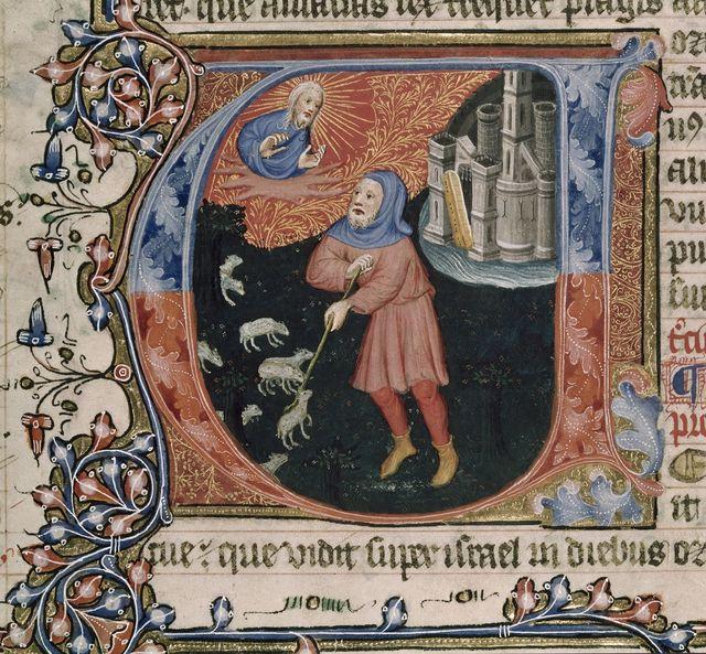 Amos tending his sheep from BL Royal 1 E IX, f. 230