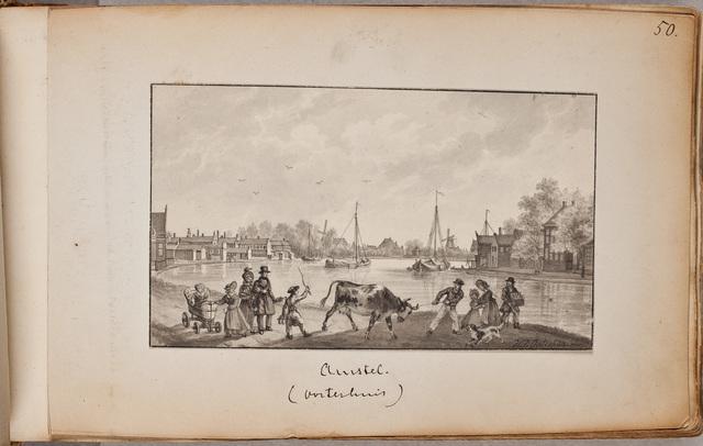 """""""Amstel, gezicht op de Amstel met op de voorgrond een boer met een koppige koe / door H[aatje] P[ieters] Oosterhuis (1784-1854)"""
