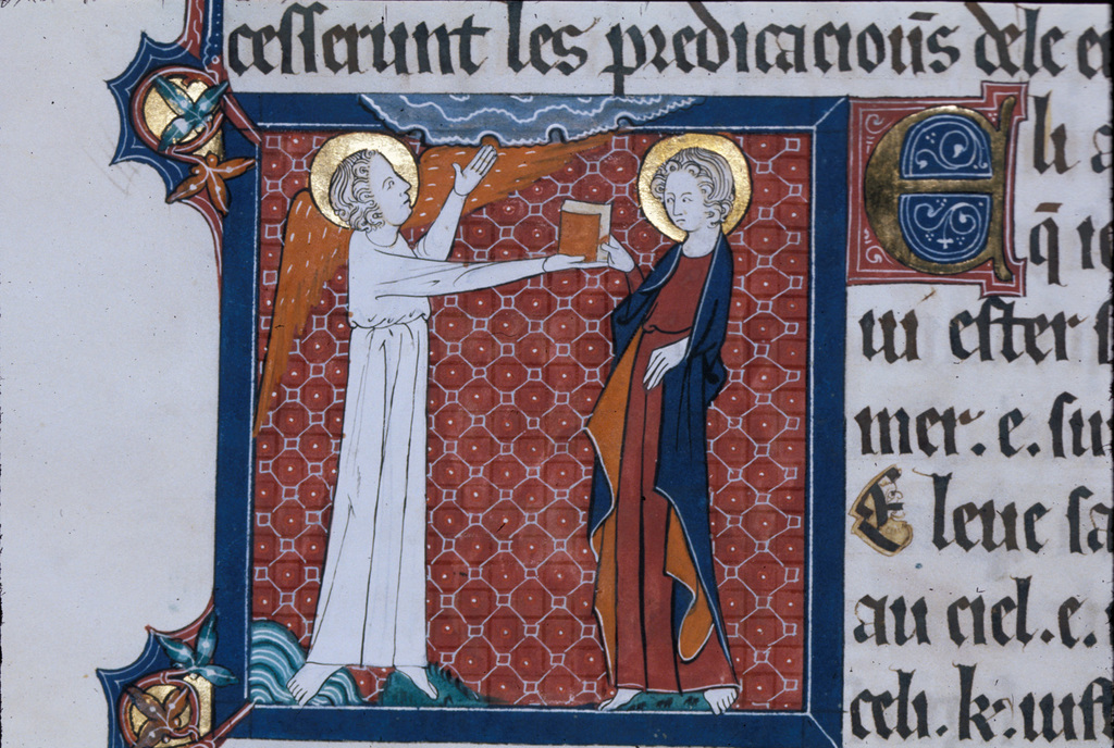 Angel giving John the book from BL Royal 15 D II, f. 145v