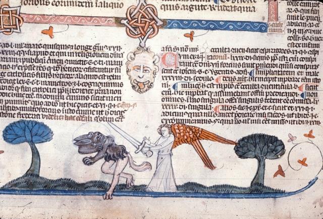 Angel threatening devil from BL Royal 10 E IV, f. 267v