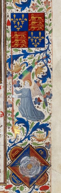 Angel with a banner from BL Royal 14 E IV, f. 10