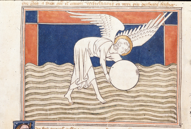 Angel with a millstone from BL Royal 19 B XV, f. 35v