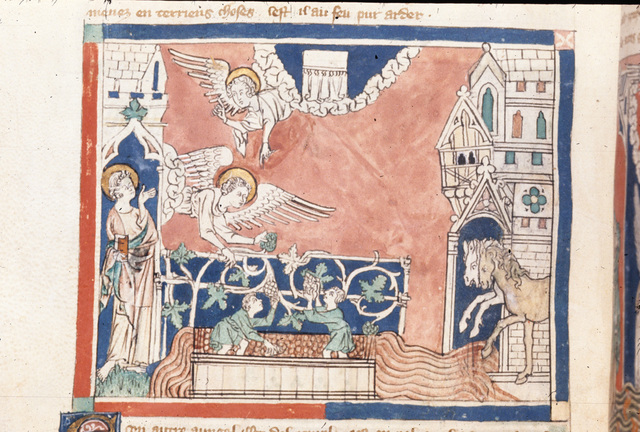Angel with a sickle from BL Royal 19 B XV, f. 27v