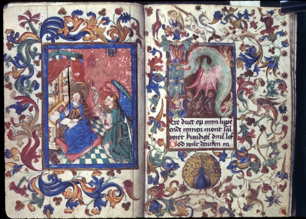 Annunciation from BL Harley 1662, ff. 17v-18