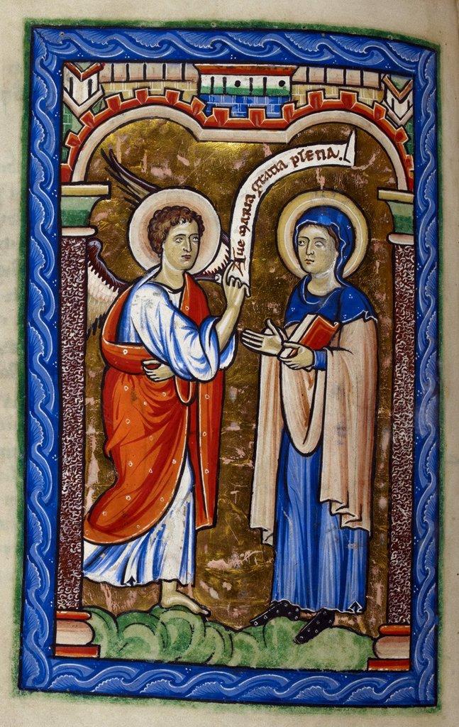 Annunciation from BL Royal 2 A XXII, f. 12v