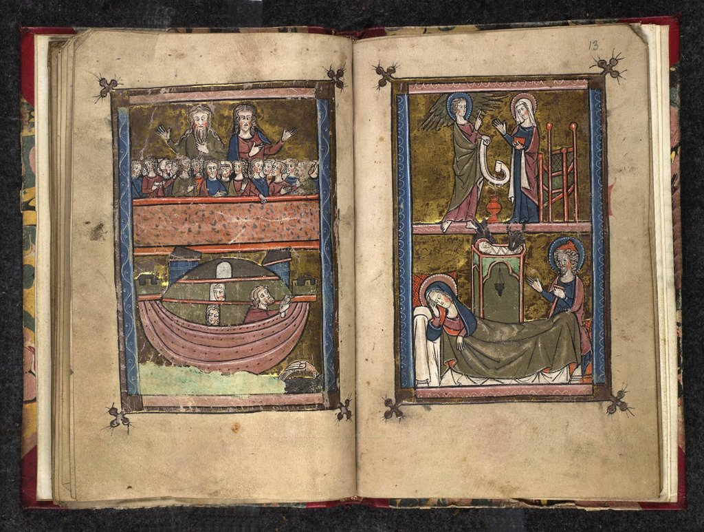Annunciation to the shepherds, Adoration of the Magi, Presentation, Christ and the doctors from BL Stowe 948, ff. 14v-15