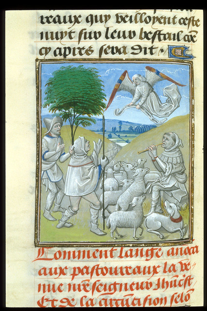 Annunciation to the Shepherds from BL Royal 15 D I, f. 227v