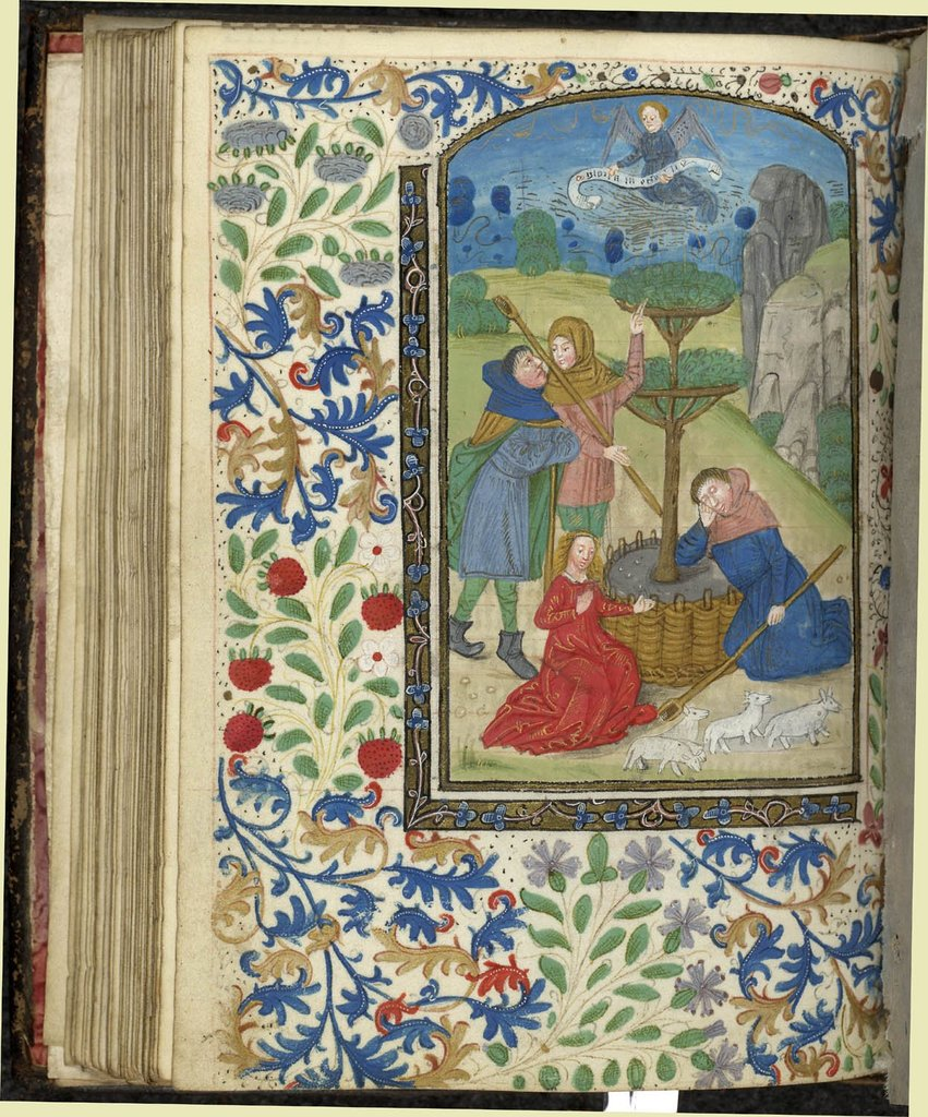 Annunciation to the Shepherds from BL Stowe 24, f. 54v