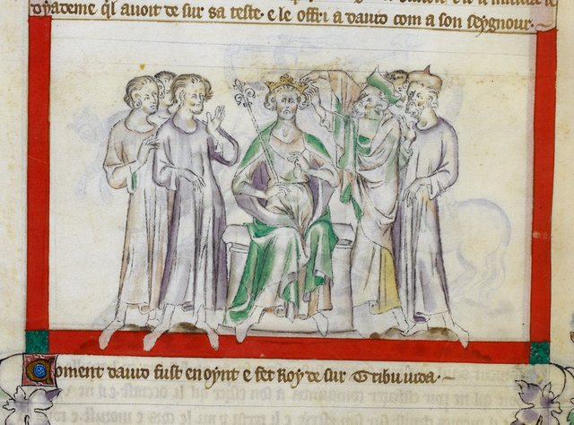Anointing of David from BL Royal 2 B VII, f. 53v