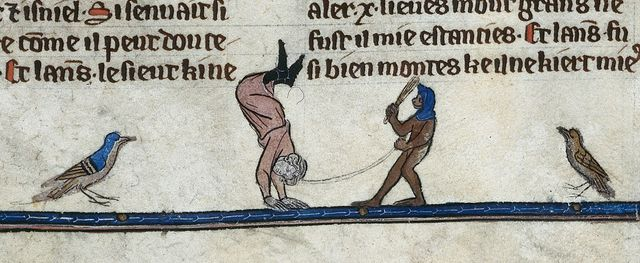 Ape and dancing man from BL Royal 20 D IV, f. 260