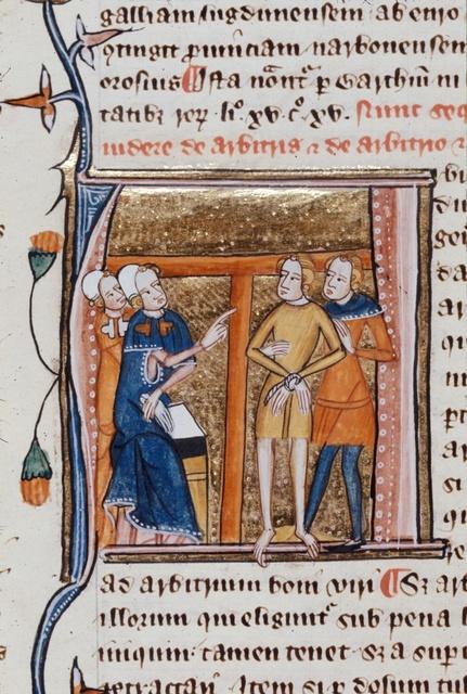 Arbiter, Arbitrium (Judge, Decision) from BL Royal 6 E VI, f. 128v