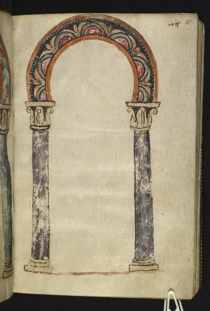 Architectural frame from BL Harley 1775, f. 15